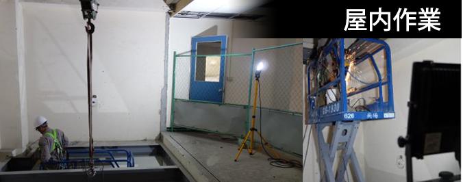 三脚スタンド付LED投光器の使用例